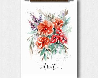 Watercolor Floral, April Month, Calendar art, Pregnancy Announcement, Baby shower, Save The date, Perpetual Month Calendar, Wedding keepsake