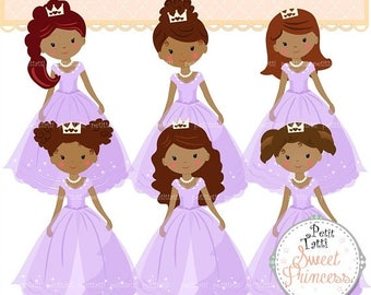 ON SALE African American Princess Clip Art // Brown Afro Braids Princess Clip Art.Fairytale Princess Clipart,Purple Birthday