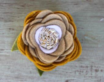 Mustard Ombre Felt Flower Clip