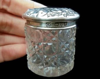 Edwardian Ornate Silver Topped Glass Dresser Jar 1902 .Antique Rouge Jar.Edwardian Cut Glass Dresser Jar Sterling Top.Antique Vanity Jar