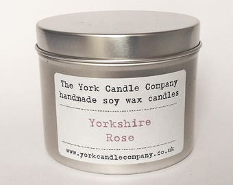 Rose Candle - Yorkshire Gift - Rose Gift - Soy Wax Candle - Yorkshire Rose Candle - Vegan Gifts - York Candle Company