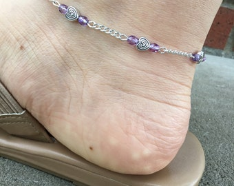 Beach Anklet - Ankle Bracelet - Foot Jewelry - Heart Anklet - Delicate Anklet - Simple Anklet - Beaded Anklet - Purple Anklet - Boho Anklet