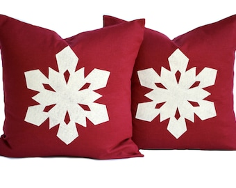 Two red linen 16x16 Snowflake Christmas Pillow covers, holiday pillow, decorative pillow, cushion, Christmas decoration