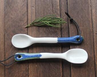 2 handmade ceramic spoons - blue and white glaze