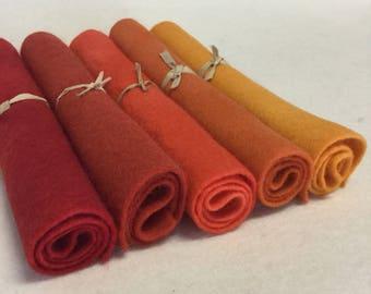 5 Piece Hand Dyed Felt Pack - Reds/ Oranges