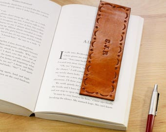Personalized Leather Bookmark, Name Bookmark, Initials Bookmark, Leather Anniversary Gift For Husband, Monogrammed Gift, Custom Gift For Dad