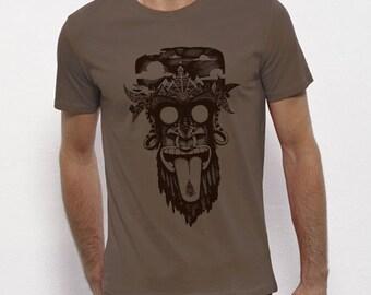 Hand Screenprinted T-shirt / Monkey / Walnut
