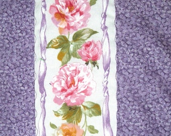 Ribbons of Pink Roses with Lavender Quilt or Wall Hanging Baby Blanket Nursery Bedding
