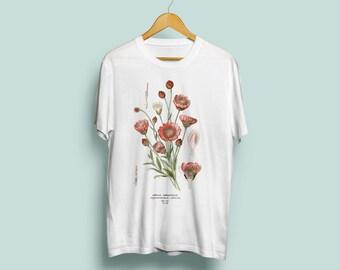 Xeranthemum Annuum Unisex T-Shirt - Botanical Illustration, Botanical Art, Botany Art, Flower Tshirt, Annual Immortelle, S M L XL XXL