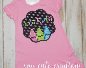 Back to School Dress, Crayon Dress, First day of School Dress, School outfit, Kindergarten Dress, Preschool dress, sew cute creations