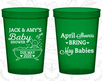 Spring Baby Shower Cups, Baby Shower Cups, April Showers bring May Babies, Baby Shower Favors (90181)
