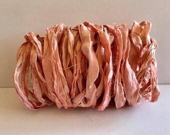 Sari Silk Ribbon-Recycled Peach Sari SilkRibbon-10 Yards