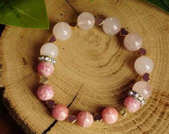 Romance~9+10 mm Genuine Natural Rhodochrosite & Rose Quartz Beads Gemstone Bracelet