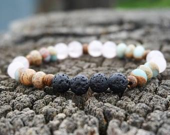 Rose Quartz & Serpentine healing mala, Rose Quartz Bracelet/ Lava Rock Essential Oil bracelet, 8mm Gemstone Yoga bracelet