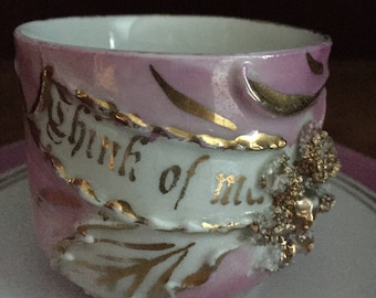 "Vintage ""Think Of Me"" Pink Lustreware Tea Cup & Saucer"