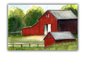 Red Hay Barns Farm Acrylic Original Painting llmartin 4 by 6 inches  Free Shipping USA Children Toddlers, Moms