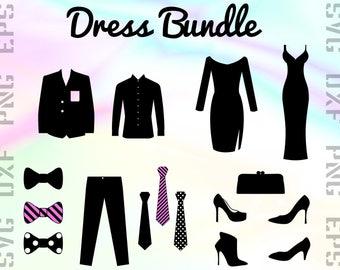 Dress SVG Files - Dress Dxf Files - Suit Clipart - Suit Cricut Files - Dress Cut Files - Dress Png - Dress Silhouette - Svg, Dxf, Png, Eps