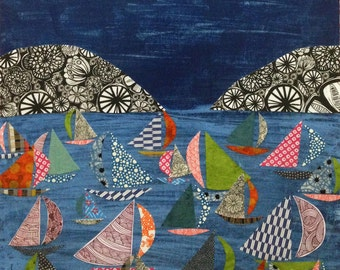 night sailing archival print