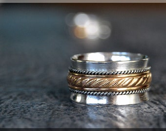 Spinner Ring, 14k Gold Filled and Sterling Silver, Fidget Ring, Whimsy Worry Ring, Mixed Metal Ring, Index Finger Ring, Anniversary Gift