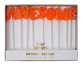 """Awesome Candles - Set of 7 Neon Orange Candles Spelling Out """"Awesome""""- by Meri Meri"""