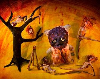 OOAK Horror Art Doll, Creepy Cute Gore Monster, Special Effects Halloween Prop, Strange Curio Display Art, Creepy Doll