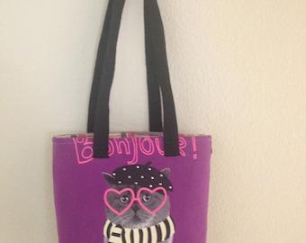 Upcycled Kitty Tote Bag -  upcycled clothing, girls, kids bag, tote bag, laptop bag, shoulder bag, recycled clothing, kitty shirt