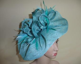 Aqua large fascinator,Aqua Hat,Aqua Wedding Hat, Aqua Fascinator,Aqua Ascot Race Hat,Aqua Occasion Hat,Aqua occasion Fascinator