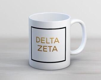 DZ Delta Zeta Faux Foil Mug Sorority Coffee Mug