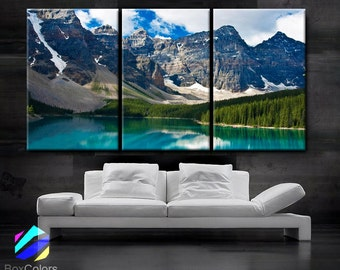 """LARGE 30""""x 60"""" 3 Panels Art Canvas Print beautiful Rocky Mountain Nature Wall Home decor interior (Included framed 1.5"""" depth)"""