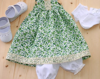Doll clothes Green Dress with small flower Dress For 18 Inch Doll Cotton Dress For Doll Dress For Waldorf Doll Rag Doll clothes  Lush Dress