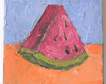 Miniature Impressionist Oil Painting 4x4 California Garden Watermelon Lynne French Art