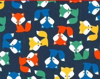 "LAMINATED Cotton  - Foxes Anne Kelle Urban Zoologie - Robert Kaufman, 56"" Wide, BPA & PVC Free"