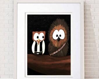Star Wars print, Chewbacca print, Chewy, Han Solo, Star Wars fans, Kids decor, Office art, Owl decor, Owl gift