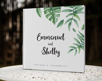 Tropical Leaf Wedding Guest Book, Greenery Wedding Guestbook, Destination Wedding Guest Book, Color Choices Available, GB114