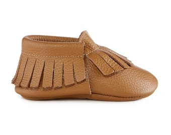 Genuine Leather Baby Moccasins - NATURAL/ moccs / baby mocs / leather moccasins / tan mocs