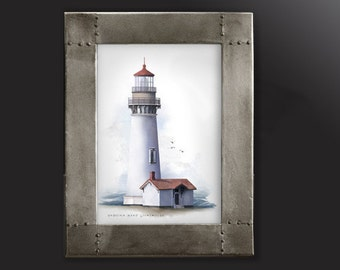 Yaquina Head Lighthouse - nautical architectural art print