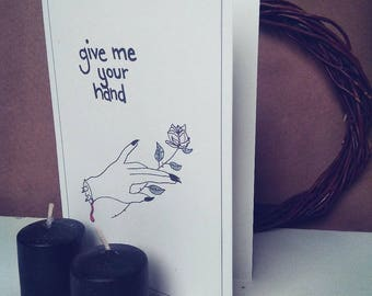 Give Me Your Hand Valentine Blank Greeting Card