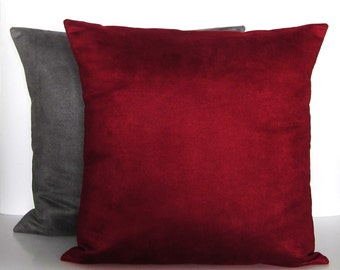 Burgundy Gray Suede Pillow Covers Decorative Accent Toss Throw Pillow 16x16 18x18 20x20 22x22 12x14 12x16 12x18 12x20 14x22 Pair Zipper