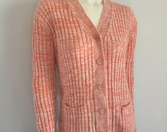 Vintage Women's 70's Space Dyed, Ribbed, Cardigan Sweater by Montgomery Ward (L)