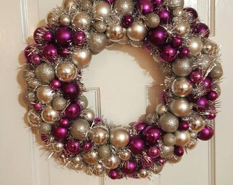 Silver and Purple holiday wreath 15""