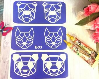 "Stencils for temporary tattoos.""Geometry-2"" set, 3 pieces. Henna tattoo. Adhesive stencils.Body art tattoo"