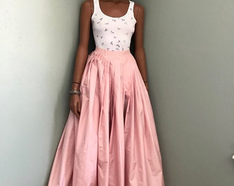 Pink Taffeta Maxi Skirt