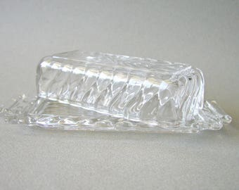 Vintage Clear Decorative Glass Butter Dish With Dome Cover