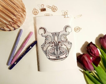 Hippo illustrated handmade notebook with blank pages