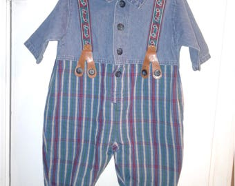 Little Arizona Baby Boys Romper with suspenders  0/3 months