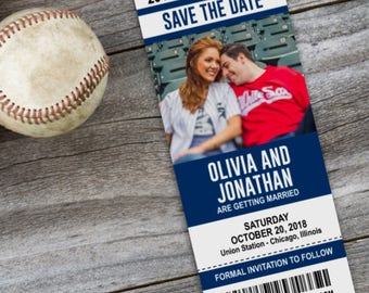 Sports Ticket Save The Date Wedding Announcement Cards Printed Cards OR Printable File