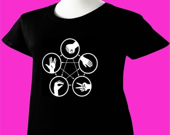 Big Bang Theory T-Shirt Sheldon Cooper Rock Paper Scissors Lizard Spock TBBT V2 Womens Ladies