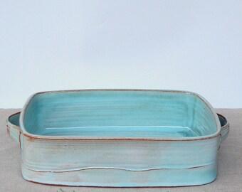 Ceramic Casserole Dish, Large Bake Dish, Bake Gift, Large Casserole, Lasagna Pan, Ceramic Bake Dish, Turquoise Bake Pan, Wedding Gift Idea