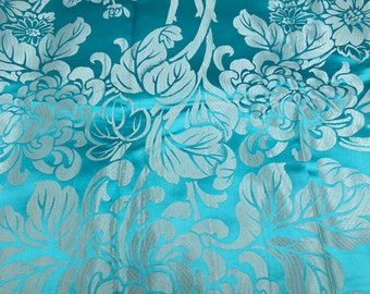 Vintage Chinese Satin Damask Floral Fabric Remnant 54 x 78 Sky Blue White