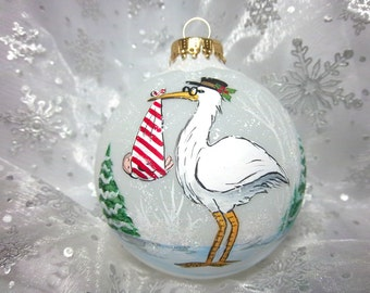 Stork Ornament, Special Delivery, Baby Shower, Stork Holding Baby, Free Inscription,, Baby Ornament,  Christmas Keepsake, Festive